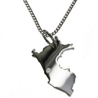 PERU Anhänger aus 925 Silber mit Brillant am Wunschort mit Halskette