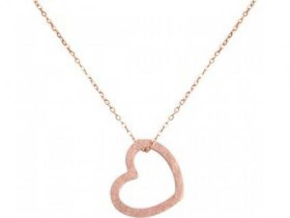 Herz Halskette Anhänger 925 Silber Rose Vergoldet 2, 5 cm