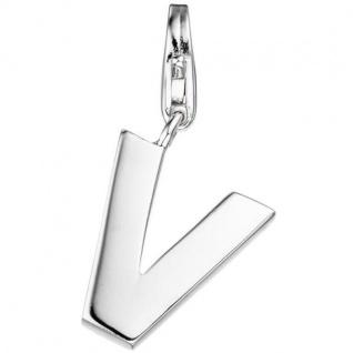 Einhänger Buchstabe V 925 Sterling Silber Anhänger für Bettelarmband
