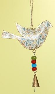 GILDE nostalgische Hängedeko Vogel aus Metall, bunt, 14 x 22 cm