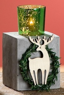 GILDE Kerzenleuchter aus Zement mit Holz-Elch, 10 x 8 x 16 cm