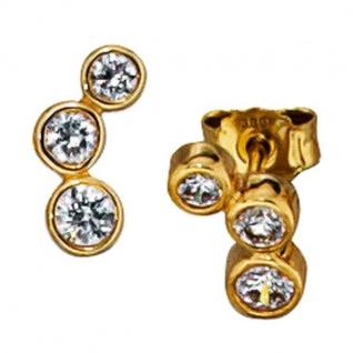 Ohrstecker 333 Gelbgold mit 6 Zirkonia Ohrringe Goldohrstecker