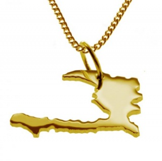HAITI Kettenanhänger aus massiv 585 Gelbgold mit Halskette