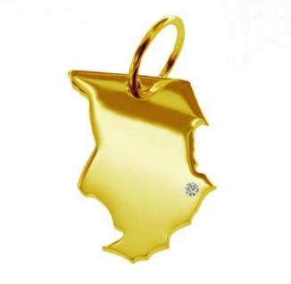 TSCHAD Kettenanhänger mit Brillant am Wunschort aus massiv 585 Gold