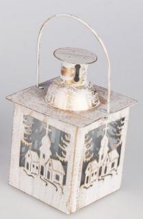 formano Laterne als Windlicht in Creme mit Kirche, 10 cm