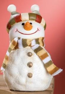 GILDE Spardose Schneemann mit rot grünem Streifen-Hut, 15 cm