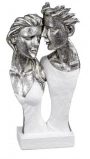 Deko-Büste Skulptur Paar Statue weiß Silber 17 x 35 cm groß