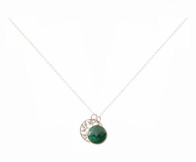 Halskette Anhänger LEBENSBAUM 925 Silber Smaragd Grün 45 cm