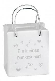 Trendige Spardose Tasche mit Spruch Dankeschön 8 x 9 cm