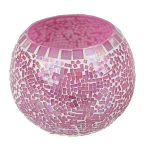 formano Windlicht aus Mosaikglas in Rosa, 10 cm