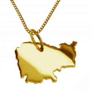 KAMBODSCHA Kettenanhänger aus massiv 585 Gelbgold mit Halskette