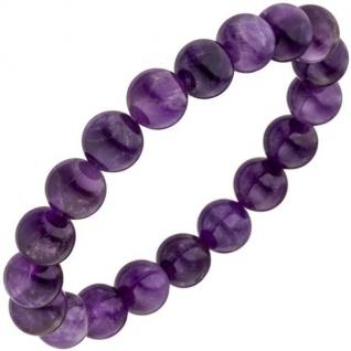 Armband Amethyst lila violett 19 cm Amethystarmband elastisch