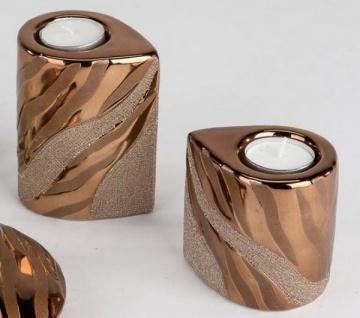 formano Teelichthalter aus Keramik Gold im 2er Set