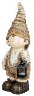 Deko Figur Wichtel Herbstkind Junge mit Laterne creme braun 16 x 52 cm