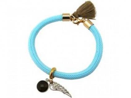 Damen Armband Vergoldet Edelstein Rauchquarz Engel Flügel Blau Braun