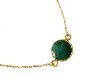Damen Armband Vergoldet Smaragd Grün Facettiert 19 cm