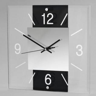 Wanduhr Avant Eckig in Schwarz weiß aus Glas 30 x 30 cm