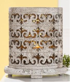 GILDE Windlicht Bourbon auf Schale, Antik Steinfarben, 26 cm