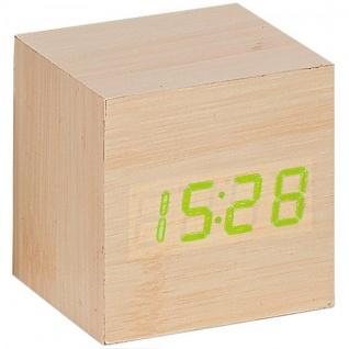 Atlanta 1134//30 Wecker Würfel digital Holz Optik hell Thermometer