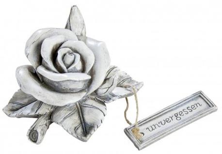Grabschmuck Wetterfest Rosen Blüte und Aufschrift antik Grau 13 x 14 cm