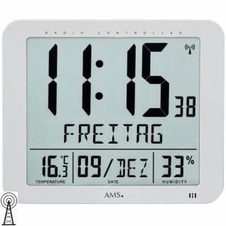 AMS 5884 Wanduhr Tischuhr Funk digital Datum Thermometer Wecker