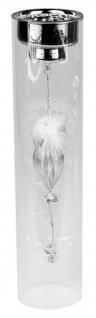 Teelichthalter silber auf Glassäule mit Kristall-Deko Metall-Teelichtleuchter auf Zylinderglas Glas-Kerzenhalter 35cm Kristall-Kerzenhalter