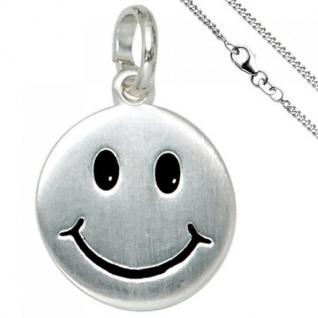 Kinder Anhänger Lächelndes Gesicht 925 Silber mit Kette 38 cm