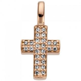 Anhänger Kreuz 585 Gold Rotgold 26 Diamanten Brillanten 0, 08ct.