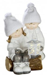 Deko-Figur Winterkinder Mädchen und Junge mit LED-Laterne Herbstkinder weiß grau außen innen 47cm groß