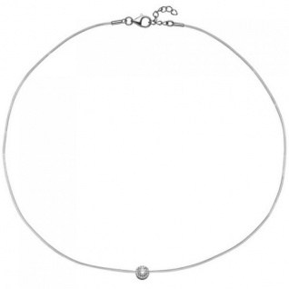 Collier Halskette Silikon mit 925 Silber und 16 Zirkonia 45 cm