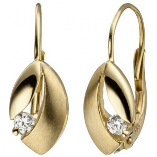Boutons 333 Gold Gelbgold teil matt 2 Zirkonia Ohrringe Ohrhänger