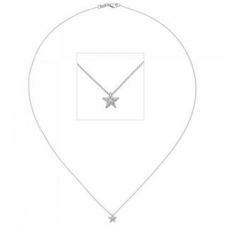 Collier Kette Anhänger Stern 585 Weißgold 16 Diamanten Brillanten 42 cm