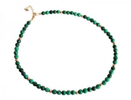 Gemshine Damen Halskette Vergoldet Malachit Facettiert Grün 45 cm