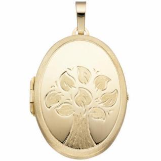 Medaillon Baum oval für 2 Fotos 585 Gelbgold Anhänger zum Öffnen