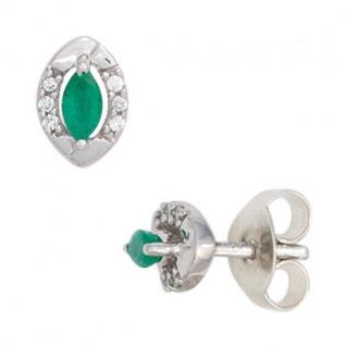 Ohrstecker oval 333 Weißgold 2 Smaragde grün 12 Diamanten Brillanten