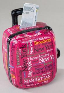 formano Spardose Sparbüchse Koffer in Rosa aus Keramik, 15 cm