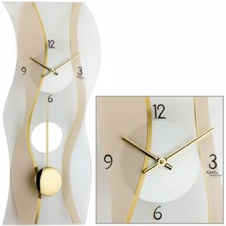 AMS 7347 Wanduhr Quarz mit Pendel modern geschwungen Pendeluhr Glas