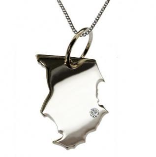TSCHAD Kettenanhänger Silber mit Brillant am Wunschort mit Halskette