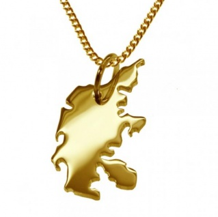 DÄNEMARK Kettenanhänger aus massiv 585 Gelbgold mit Halskette