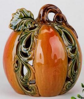 formano Windlicht Kürbis in Herbstfarben aus Keramik, 15 cm
