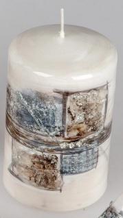 Stumpenkerze Karo-Dekor Strass-Steine braun silber 7 x 11 cm