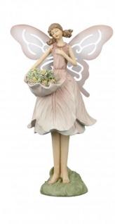 Deko-Figur Blumenfee Feengarten Blütenfee Naturelfe Blumenengel Gartenengel Feenstatue Gartendeko Gartenfigur rosa 10x11x24cm Fantasyfigur