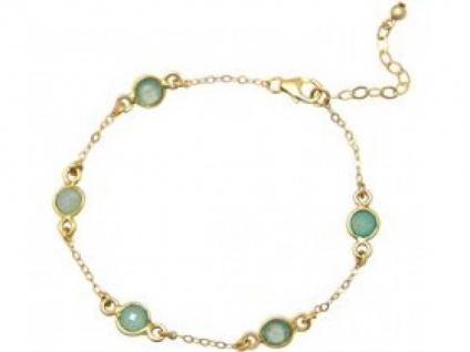 Gemshine Damen Armband 925 Silber Vergoldet Aqua Chalzedon 18 cm