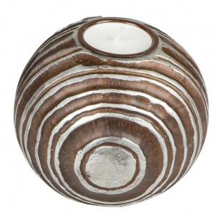 antiker Teelichthalter Kerzenhalter Kugel rund braun silber 12 cm Ø
