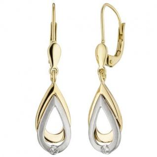 Ohrhänger 585 Gelbgold Weißgold bicolor 2 Diamanten Brillanten