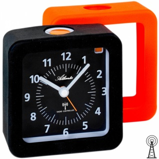 Atlanta 1852/7 Wecker Funk analog orange schwarz mit Licht Snooze