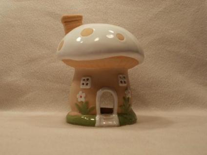 Pilz-Teelichtlampe aus Keramik, 18 cm hoch