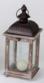 Laterne aus Holz Vintage Antik braun Windlicht Retro Metalldach 18 x 41cm