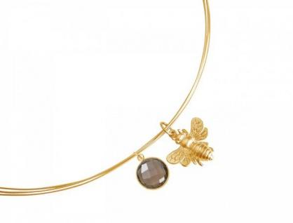 Halskette Anhänger 925 Silber Vergoldet Biene Rauchquarz Braun