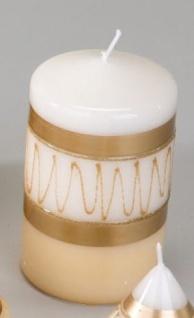 Stumpenkerze Zick-Zack in Creme, Weiß und Gold 7 x 11 cm